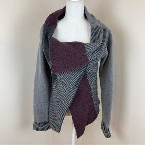 A. Ida Italian Wool Blend Wrap Cardigan Sweater K